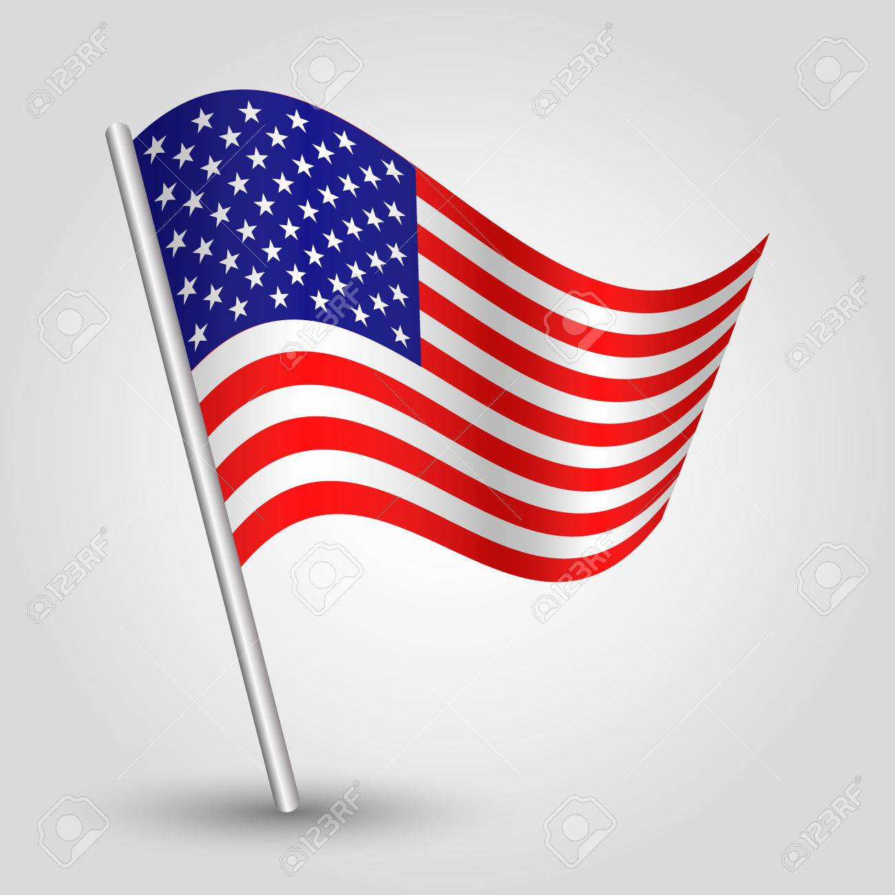 be091635dee8 Vector - vector 3d waving american flag on pole - national symbol of United  States of America USA with inclined metal stick