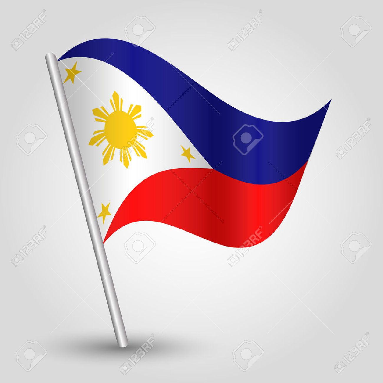 Vector waving simple triangle filipino flag on pole national vector waving simple triangle filipino flag on pole national symbol of philippines with inclined metal buycottarizona Images