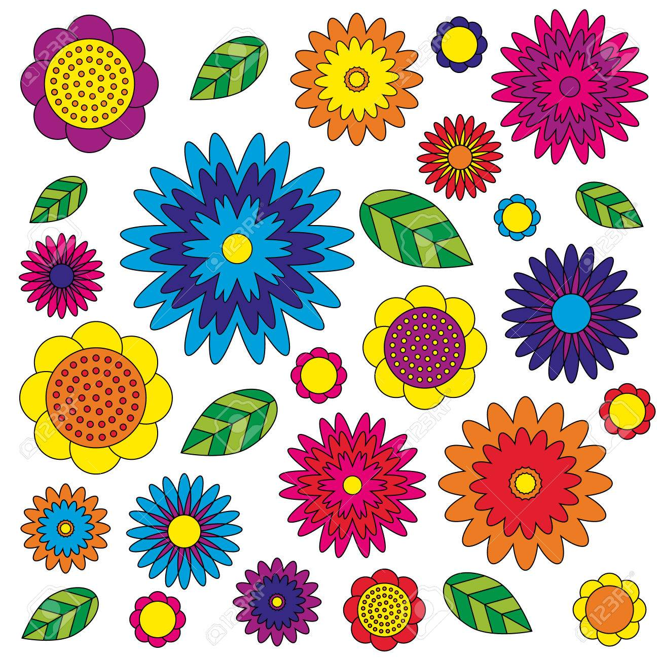 Vector Adult Coloring Book Page Irregular Floral Pattern Colored ...