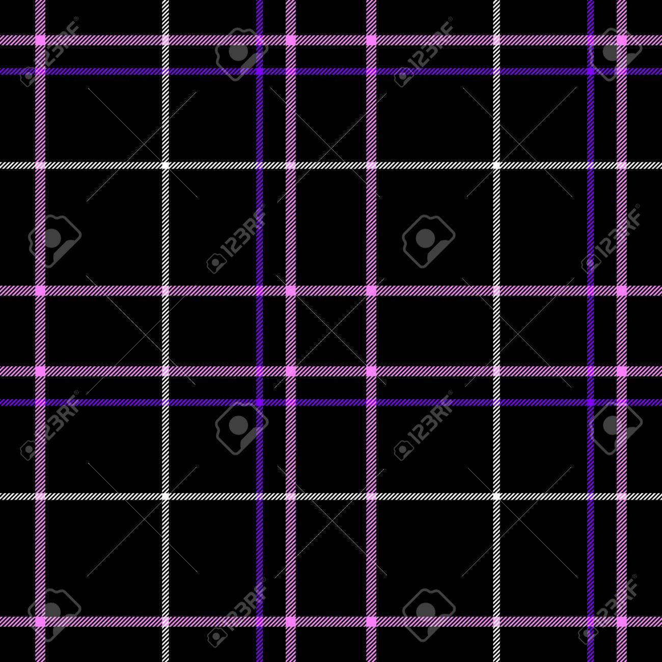 Black Check Diamond Tartan Plaid Fabric Seamless Pattern Texture