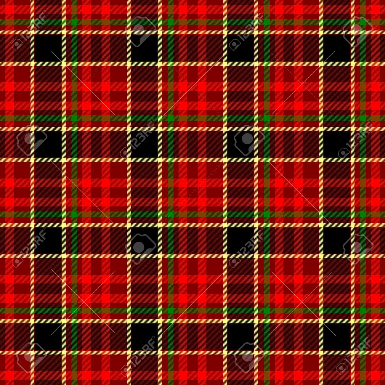 Red Yellow Green Check Diamond Tartan Scot Plaid Fabric Material Seamless  Pattern Texture Background Stock Photo