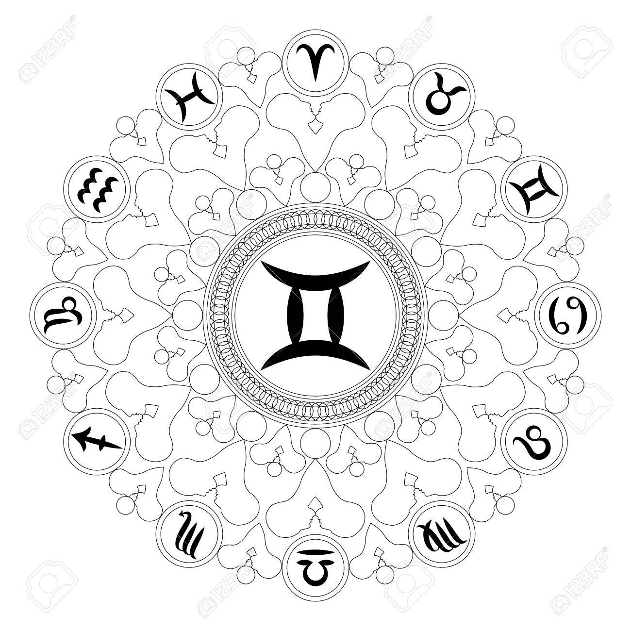 Black and white round geometric mandala with zodiac symbol of black and white round geometric mandala with zodiac symbol of gemini adult coloring book page buycottarizona