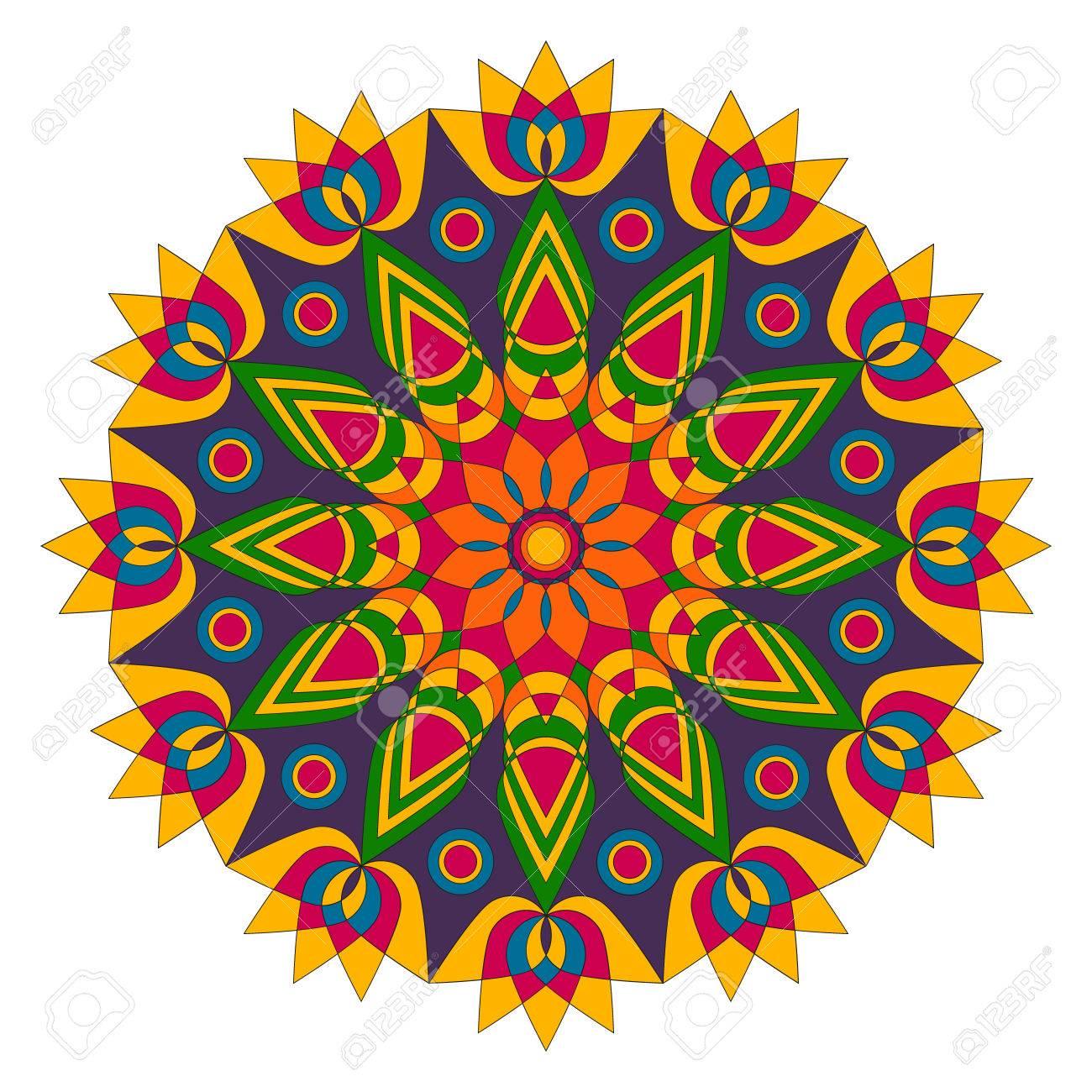 Colored Round Geometric Mandala Lotus Flower Shape Adult Coloring