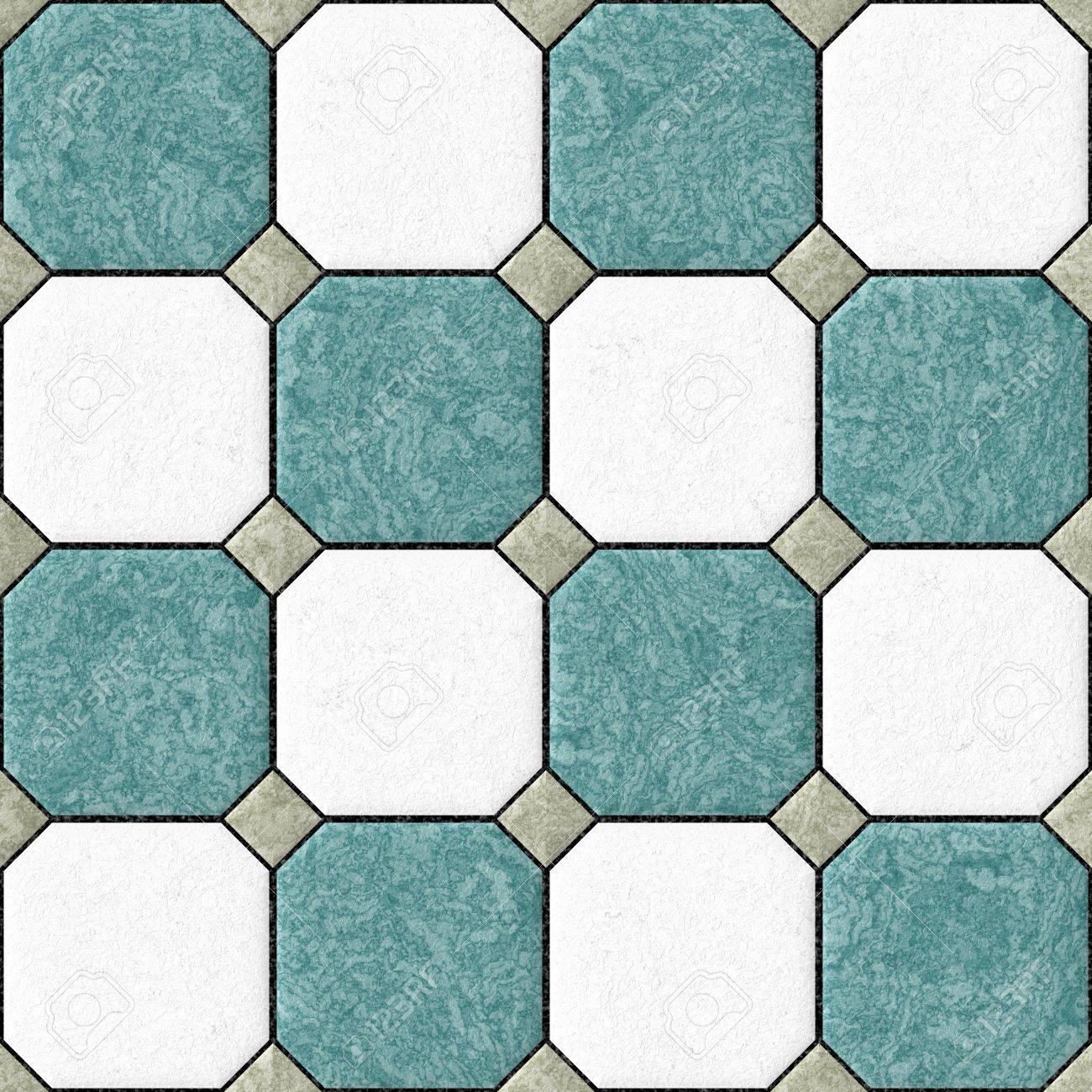 Blau Weiss Grau Bodenfliesen Seamles Muster Textur Hintergrund