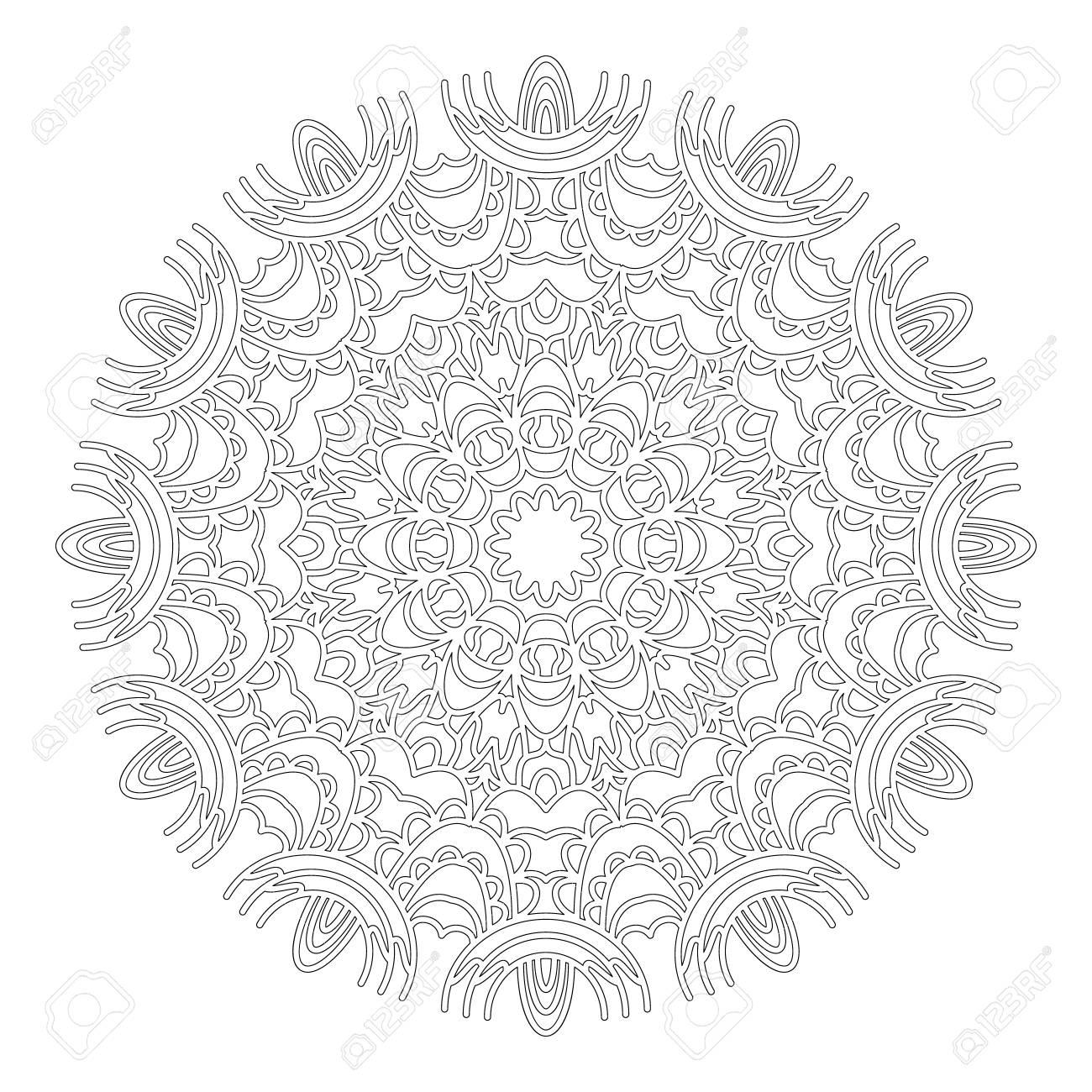 Vector Blanco Y Negro Ronda Geométrico Abstracto Floral De Encaje ...