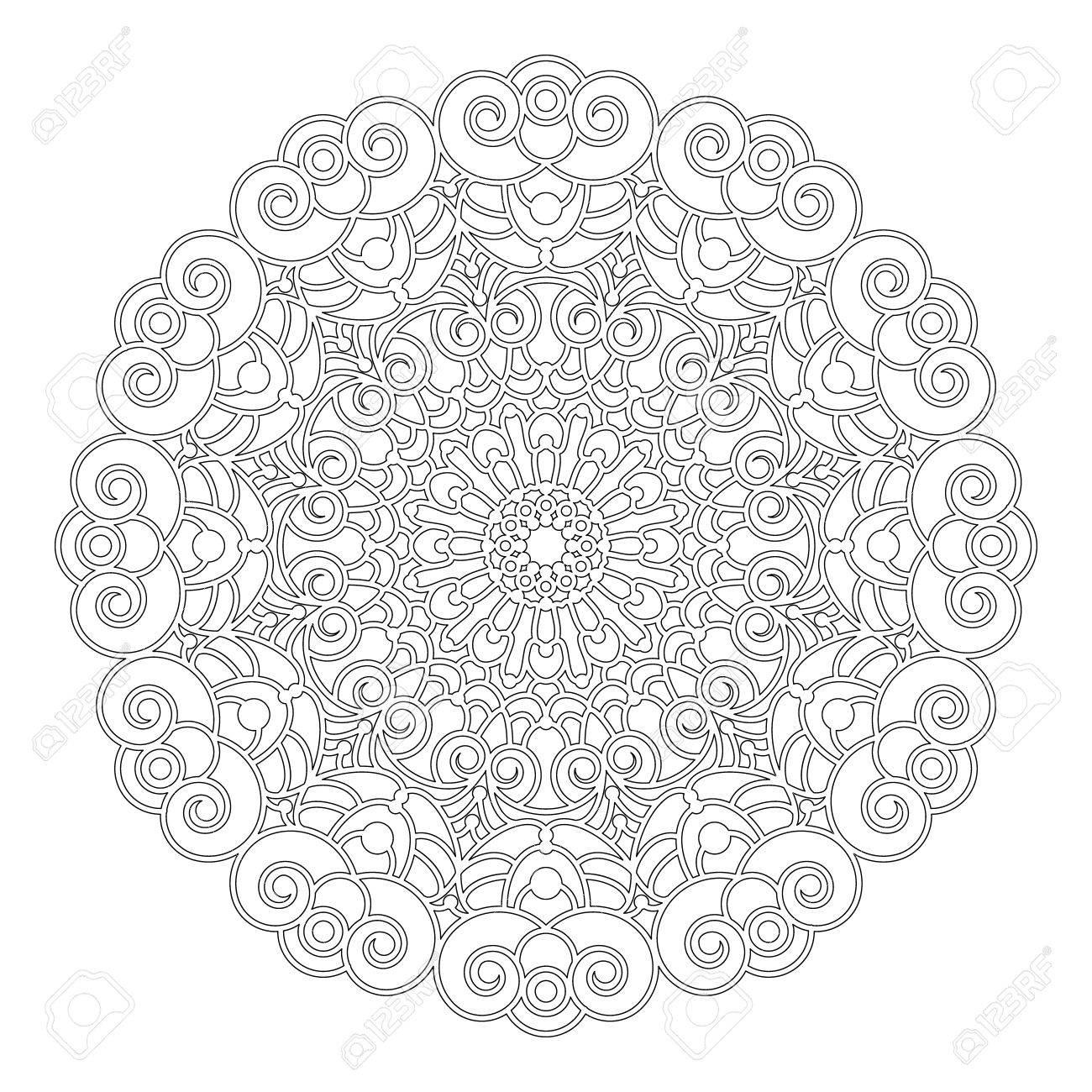 Coloriage Adulte Spirale.Vector Noir Et Blanc Rond Mandala Floral Geometrique Avec Des