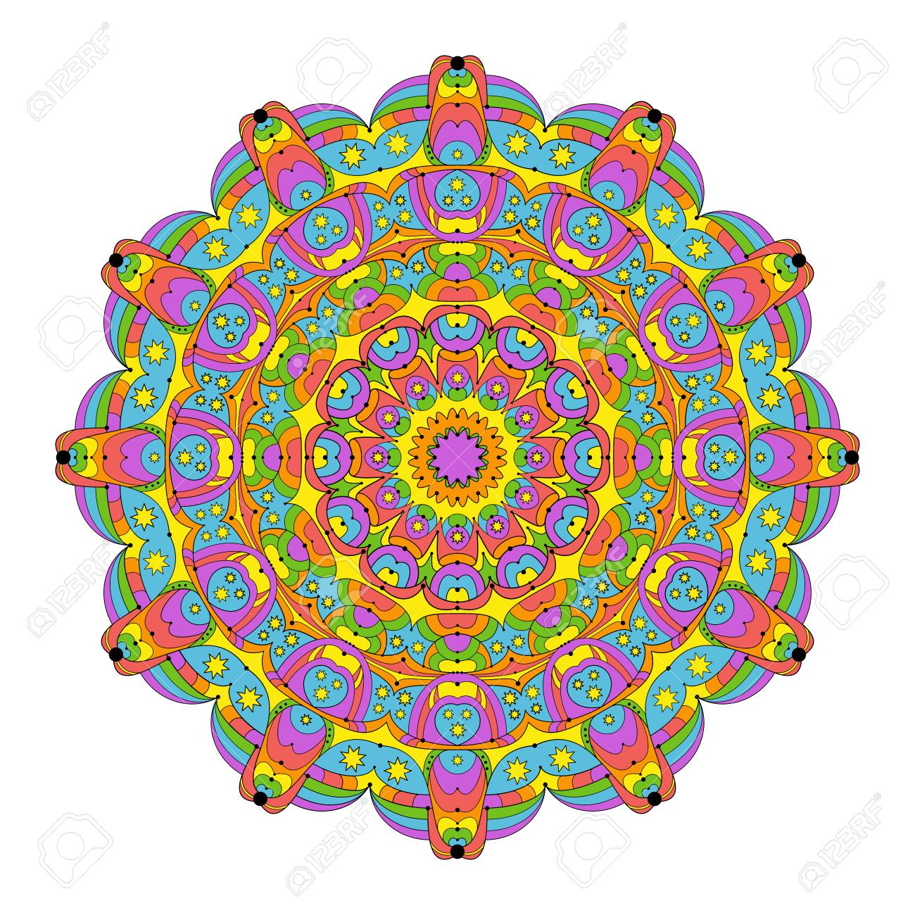 Colored Round Abstract Mandala Rainbow Spectrum Colors