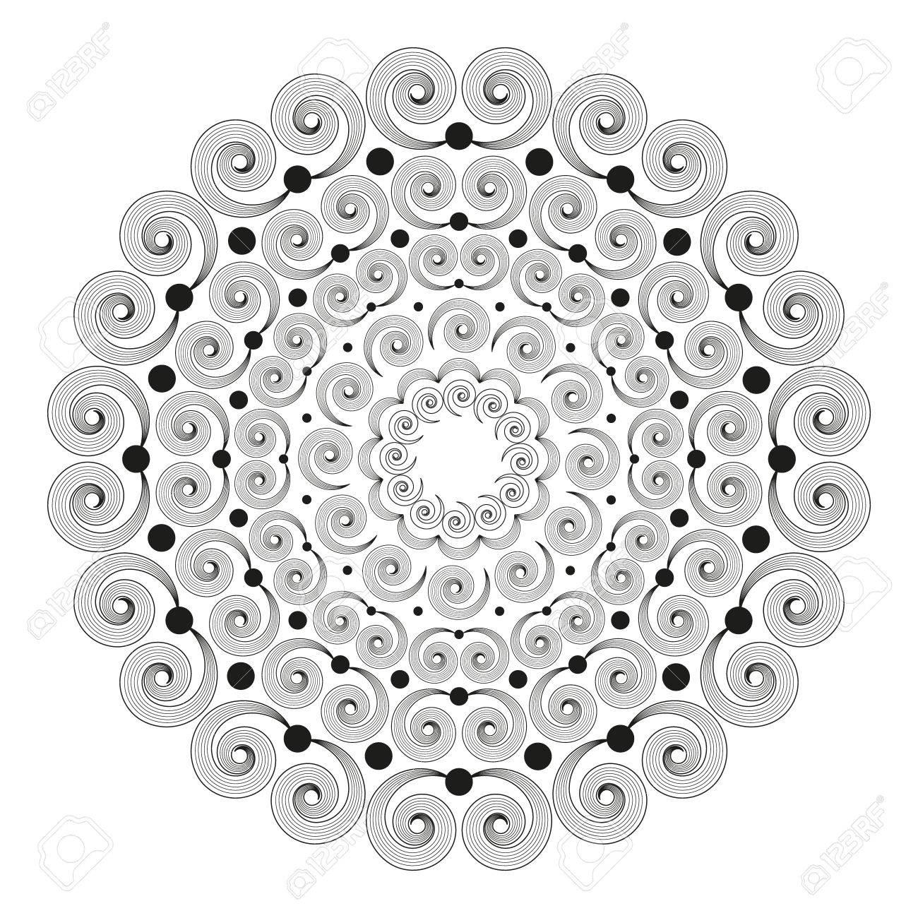 Coloriage Adulte Spirale.Mandala Rond Noir Et Blanc A Spirales A Rayures Page De Coloriage
