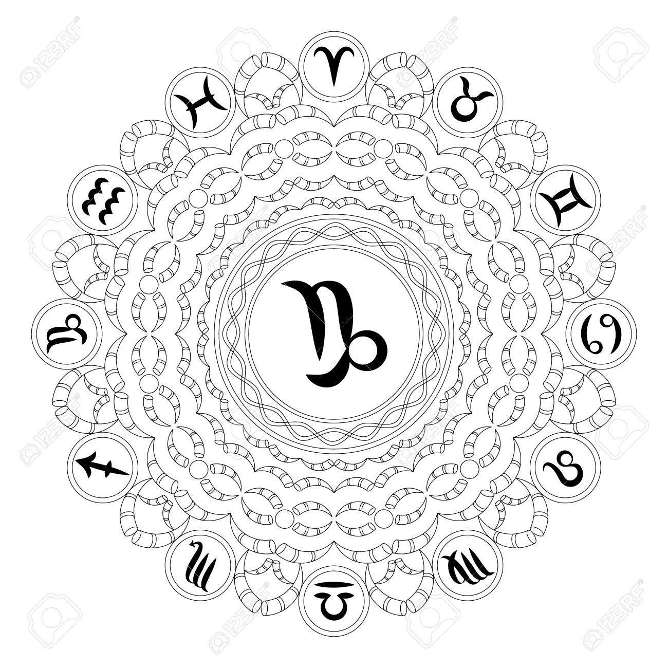 Vector black and white round geometric mandala with zodiac symbol vector black and white round geometric mandala with zodiac symbol of capricorn adult coloring book buycottarizona