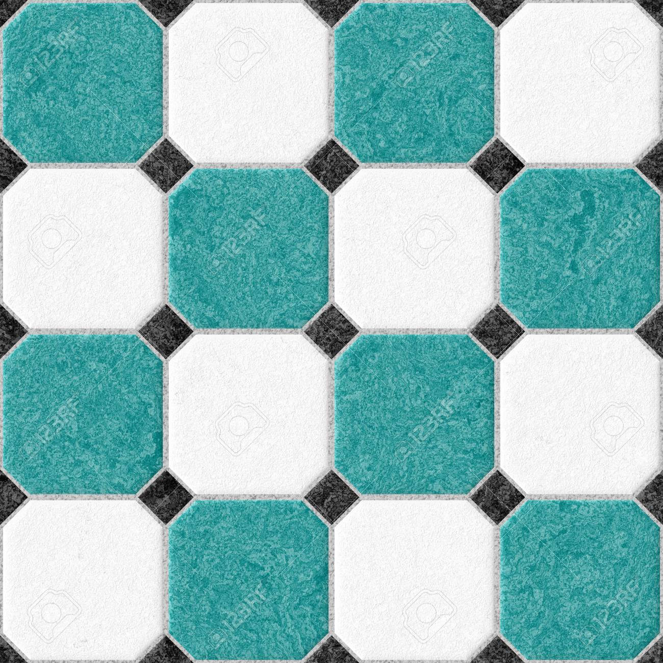 Marble Square Floor Tiles With Black Rhombs And Light Gray Gap ...