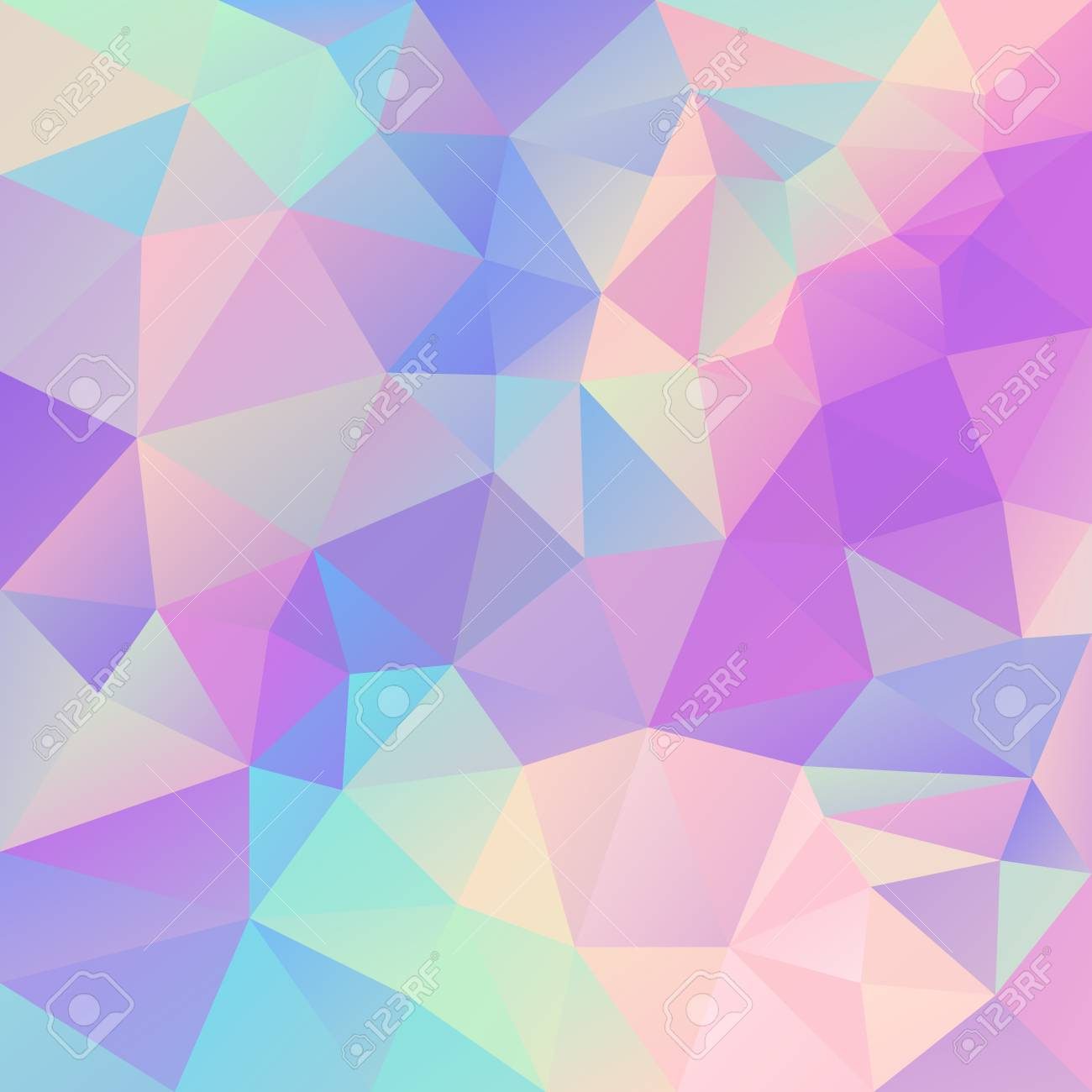 Vector Abstract Irregular Polygonal Background Cute Pastel Unicorn