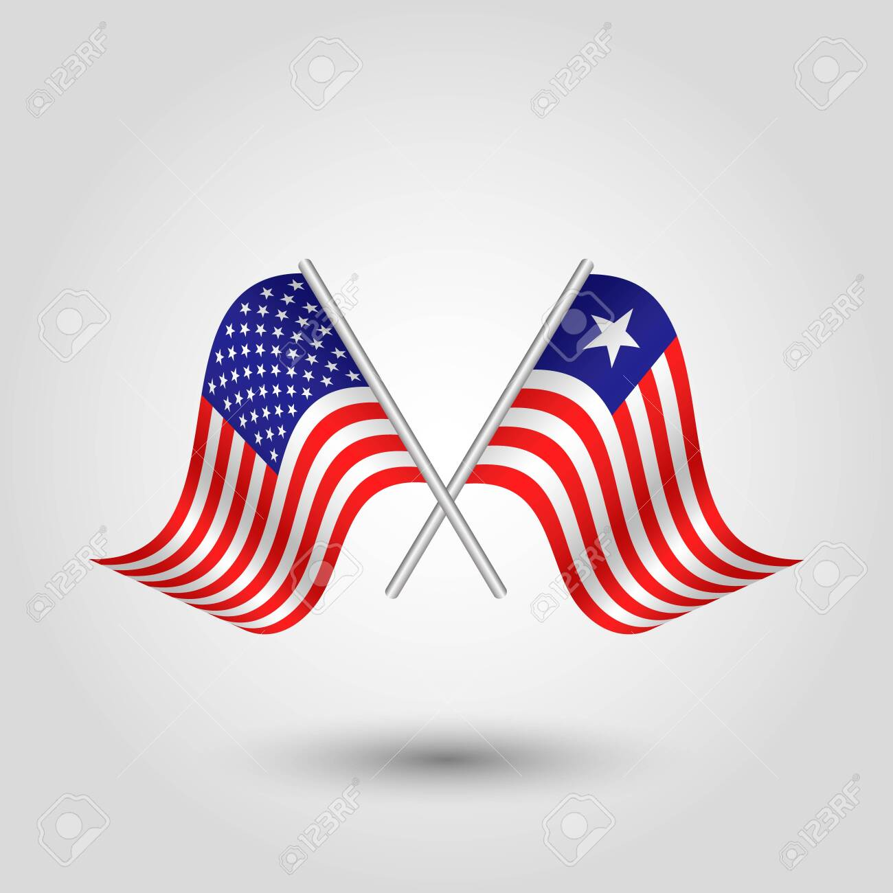 vector two crossed american and liberian flags on silver sticks - symbol of united states of america and liberia - 128376499