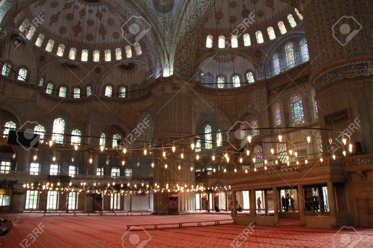 Inside Sultan Ahmet Mosque In Istanbul Turkey Stock Photo Picture