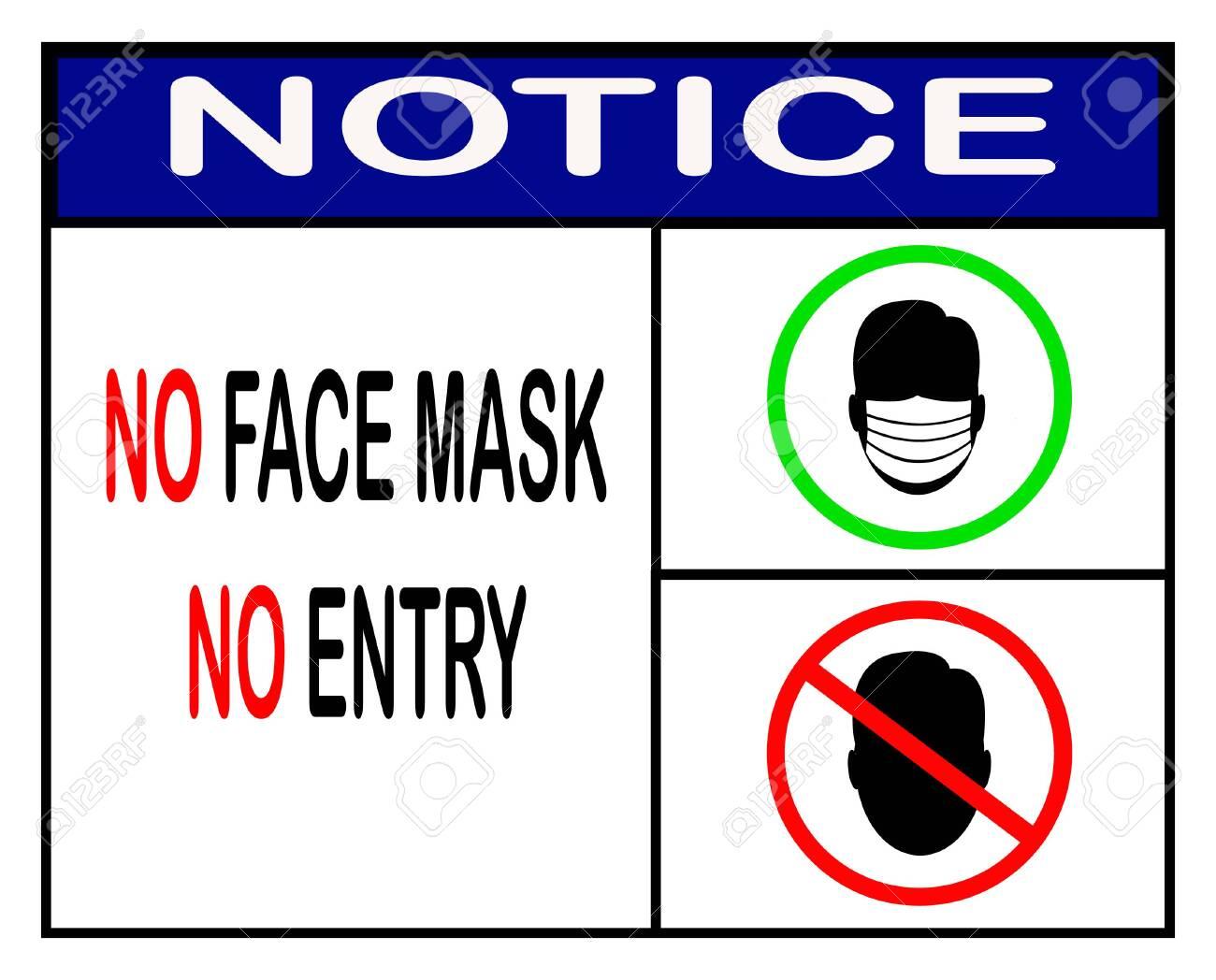 no face mask no entry,notice or mandatory sign vector - 148039624