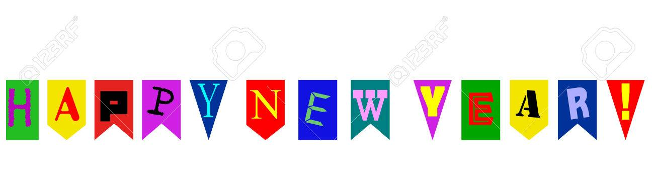 Multicolored Banner With The Words Happy New Year Stock Photo ...