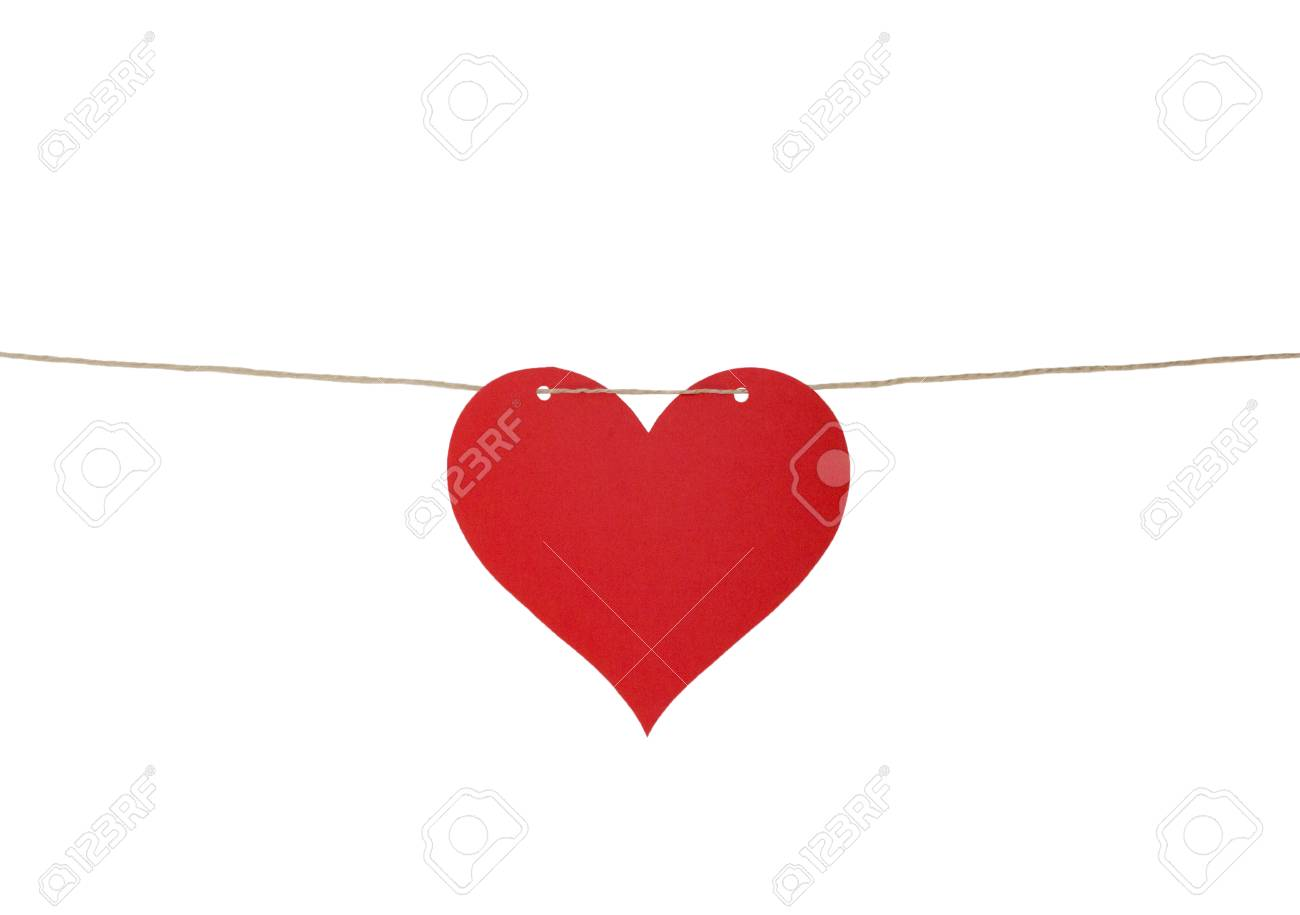 Ein Herz Aus Papier Auf Eine Schnur Isoliert Auf Weiß Lizenzfreie
