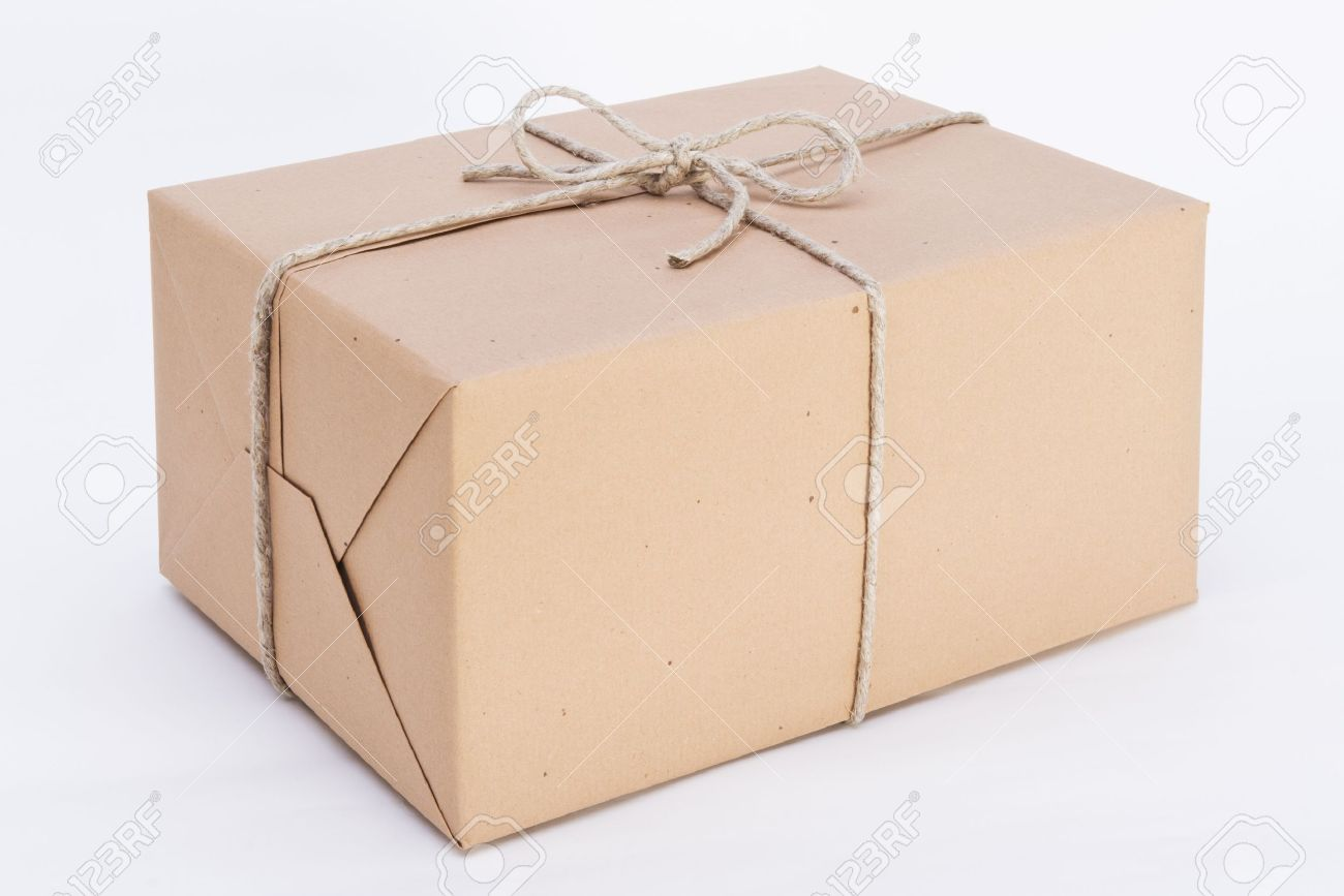 package ready for shipment wrapped in brown paper and tied with