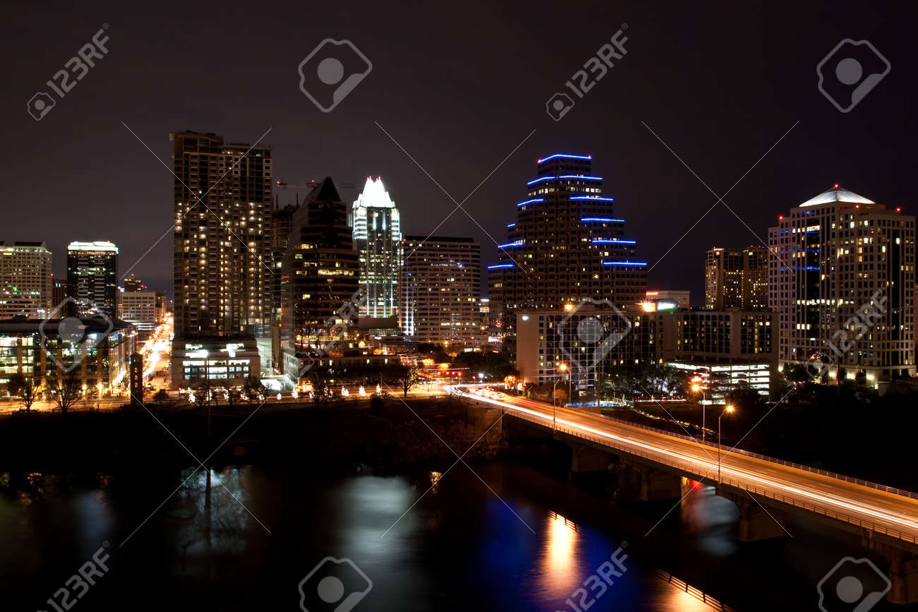 Downtown Austin Texas Cityscape at night from across Lady Bird Lake formally known as Town Lake Stock Photo - 7765227