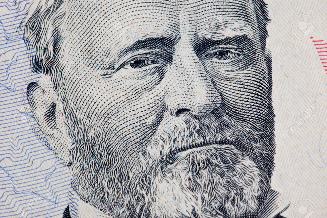 A US Fifty 50 Dollar Bill close up of Grant on a white background Stock Photo - 7765390