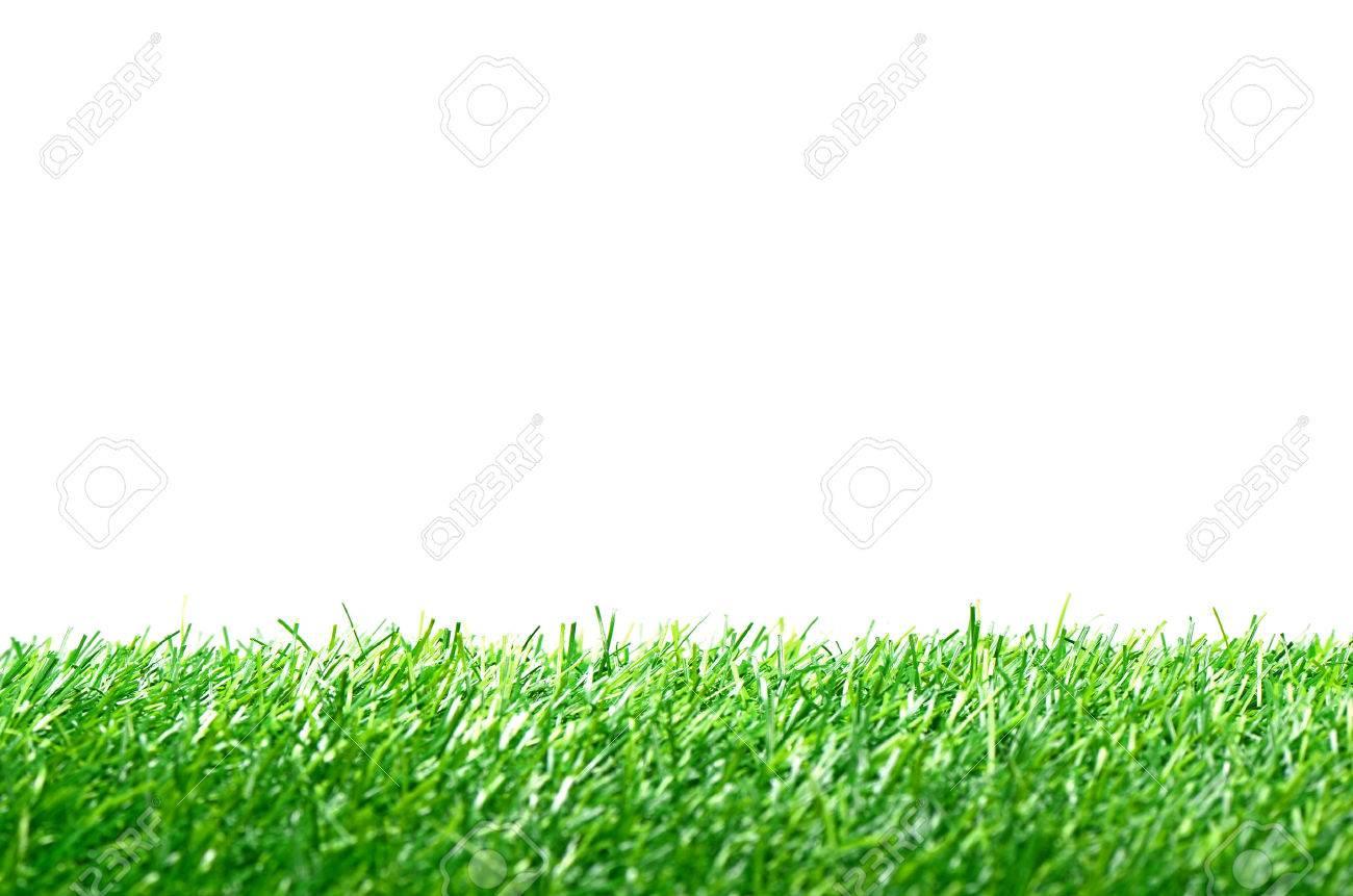 Césped Artificial Para El Campo De Fútbol Aislado En El Fondo Blanco ...