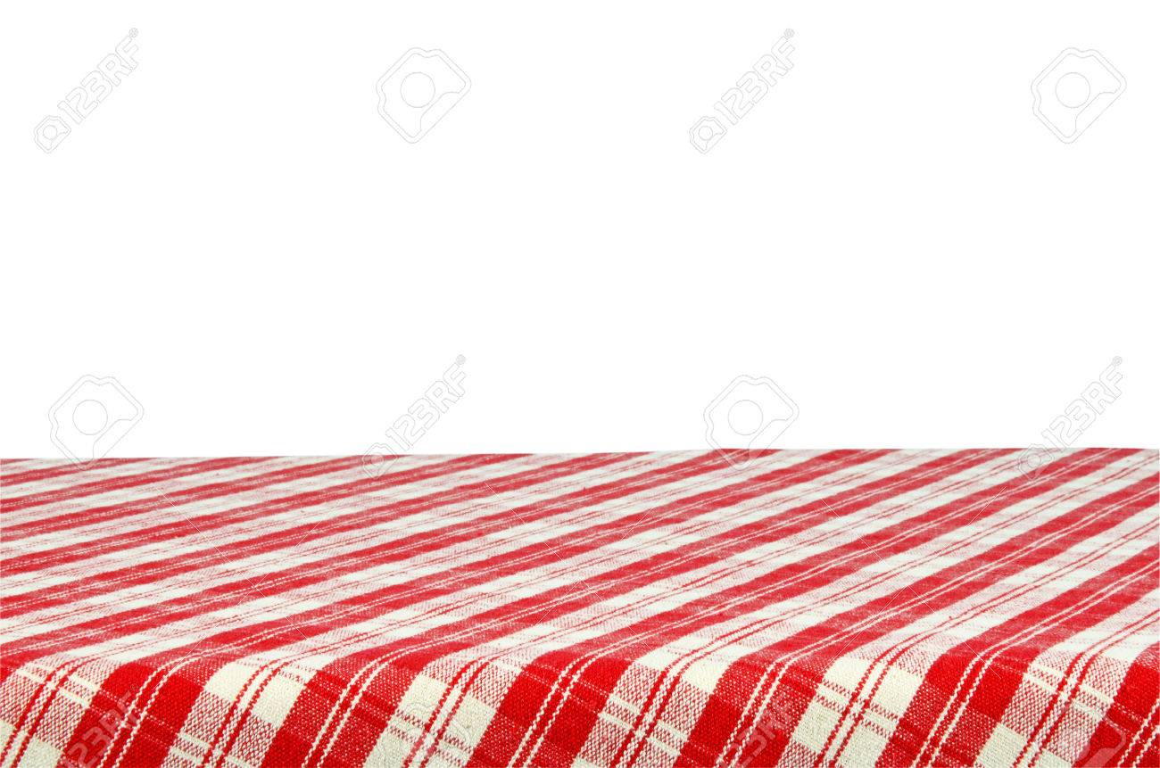 picnic table with tablecloth isolated on white background with