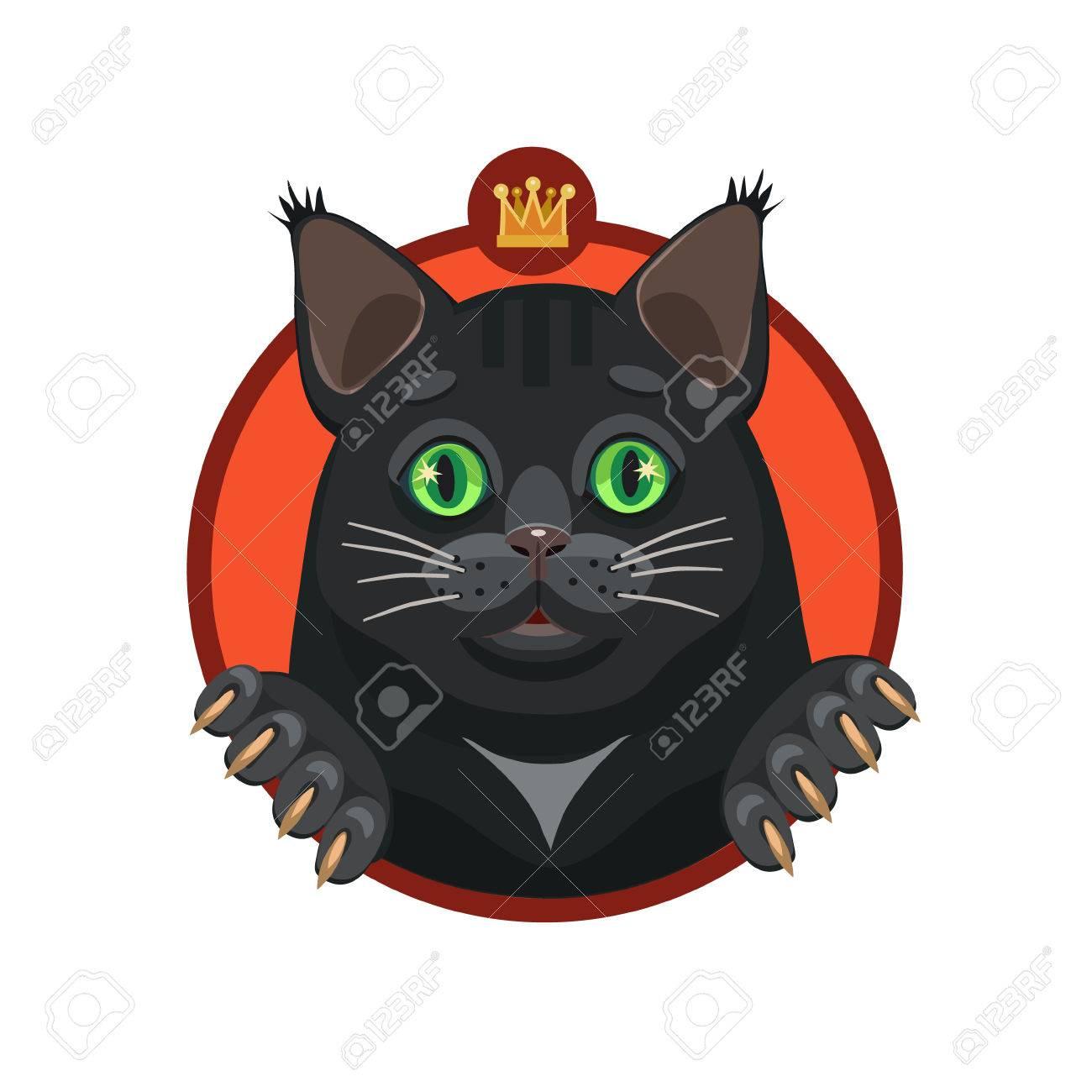 Vettoriale Il Gatto Nero Ti Guarda Con Gli Occhi Verdi Loro