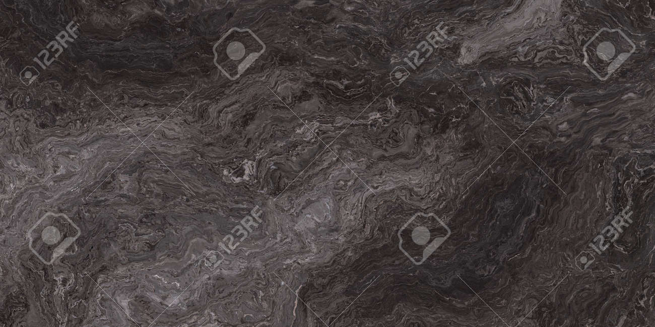 Marble pattern with curly grey and black veins. Abstract texture and background. 2D illustration - 161824540