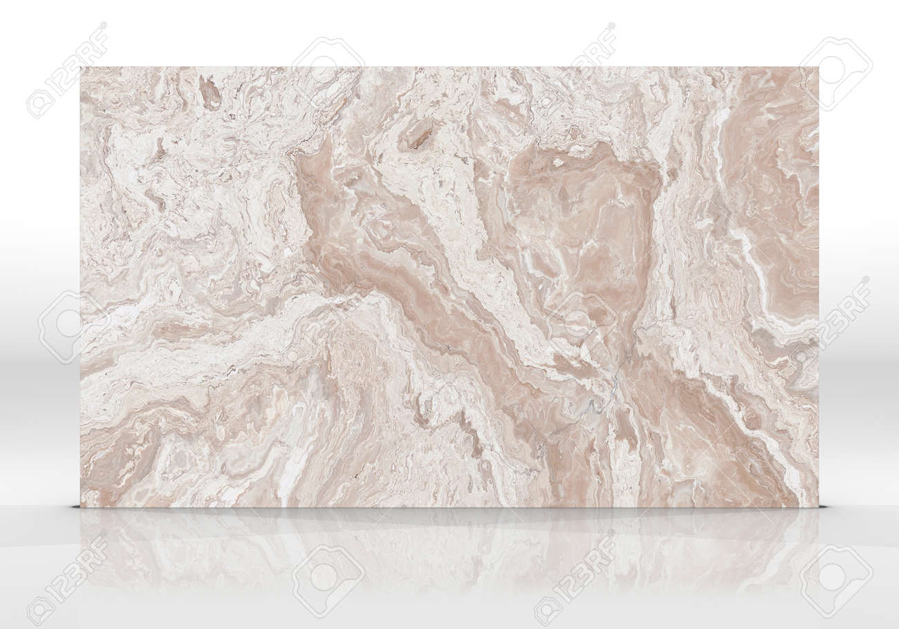 Beige Onyx marble tile standing on the white background with reflections and shadows. Texture for design. 2D illustration. Natural beauty - 162481389