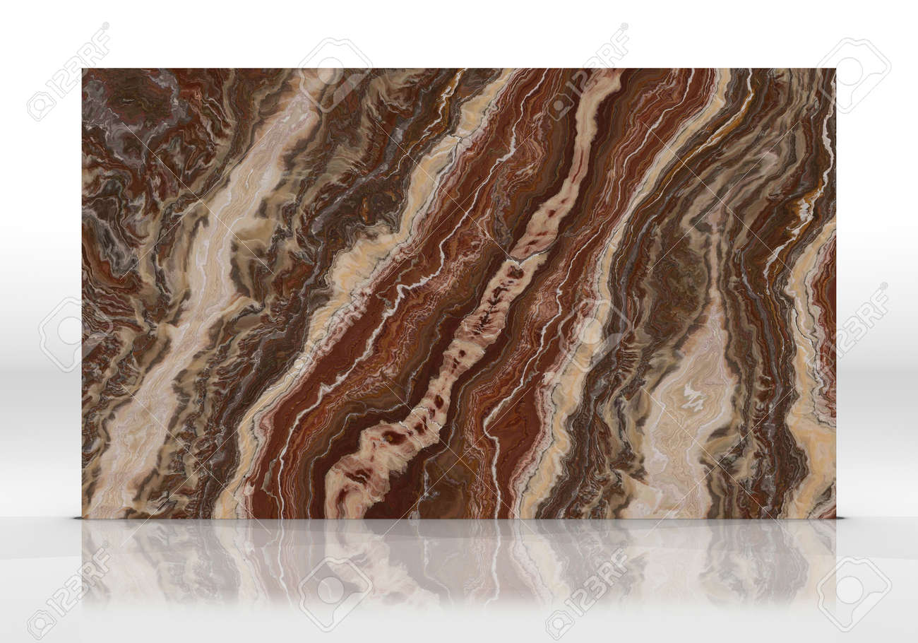 Red Onyx marble tile standing on the white background with reflections and shadows. Texture for design. 2D illustration. Natural beauty - 162481390