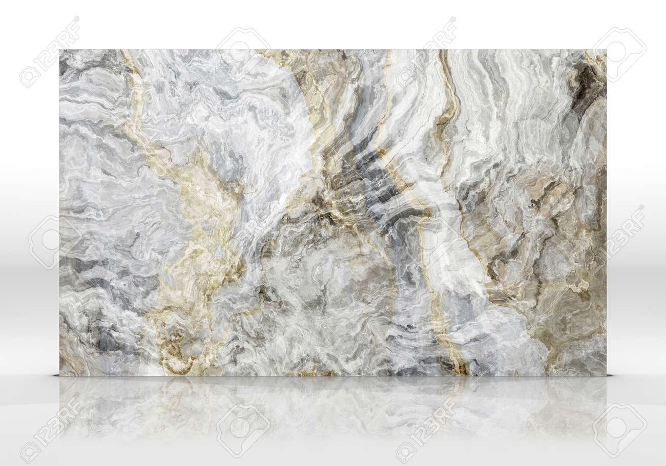 Grey Onyx marble tile standing on the white background with reflections and shadows. Texture for design. 2D illustration. Natural beauty - 162481418