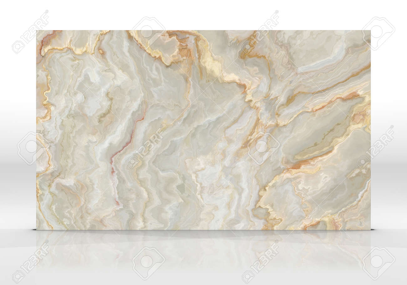 Yellow Onyx marble tile standing on the white background with reflections and shadows. Texture for design. 2D illustration. Natural beauty - 162481428