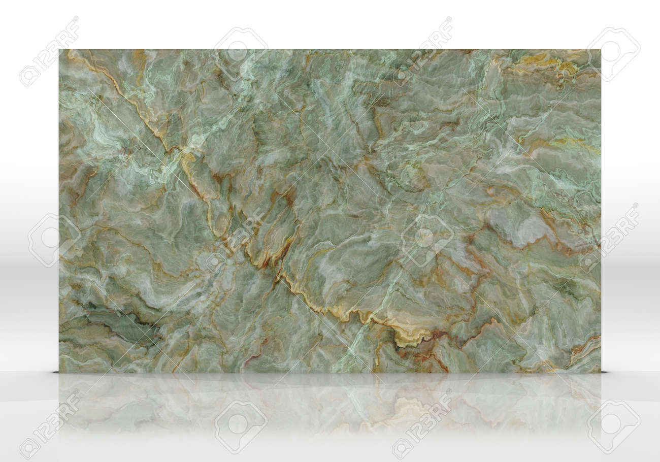 Green Onyx marble tile standing on the white background with reflections and shadows. Texture for design. 2D illustration. Natural beauty - 162481436