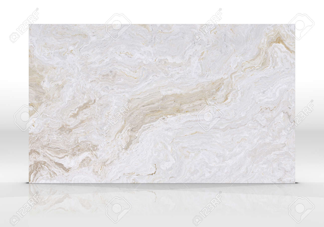 Beige Onyx marble tile standing on the white background with reflections and shadows. Texture for design. 2D illustration. Natural beauty - 162481437