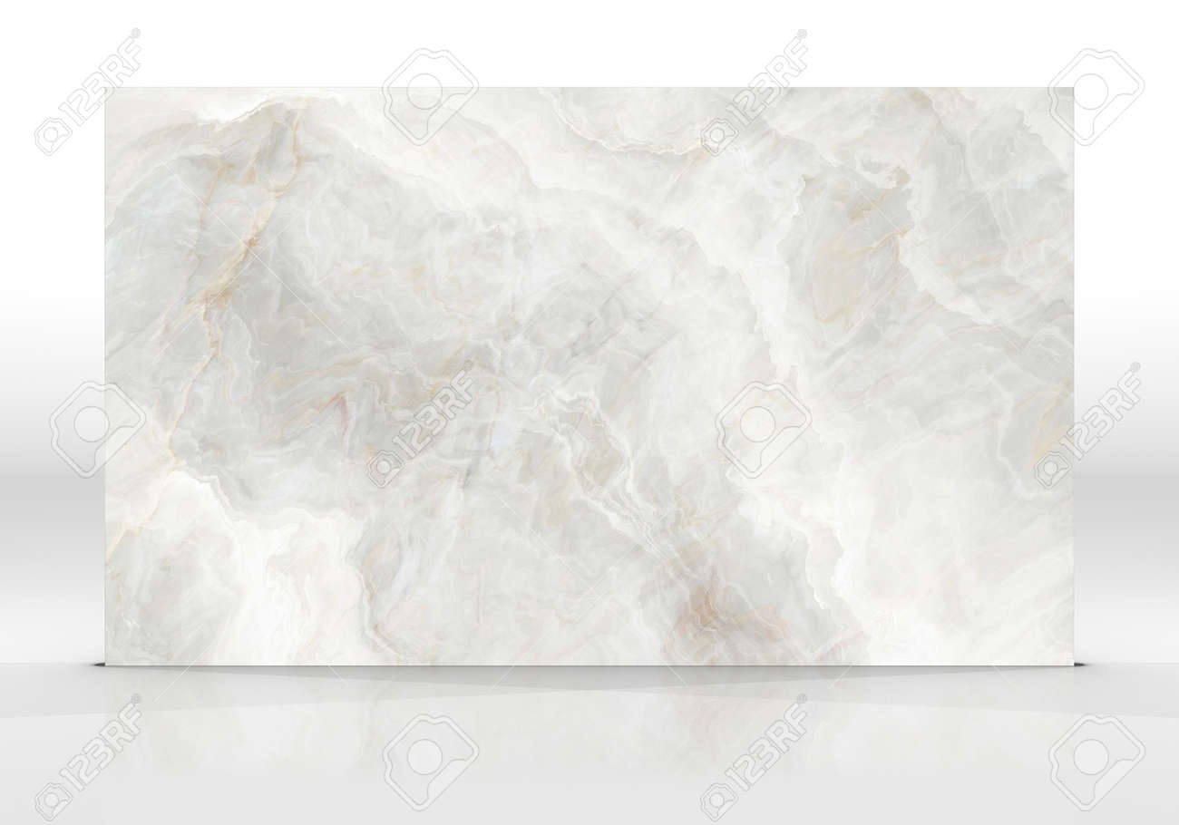 Ivory Onyx marble tile standing on the white background with reflections and shadows. Texture for design. 2D illustration. Natural beauty - 162481455