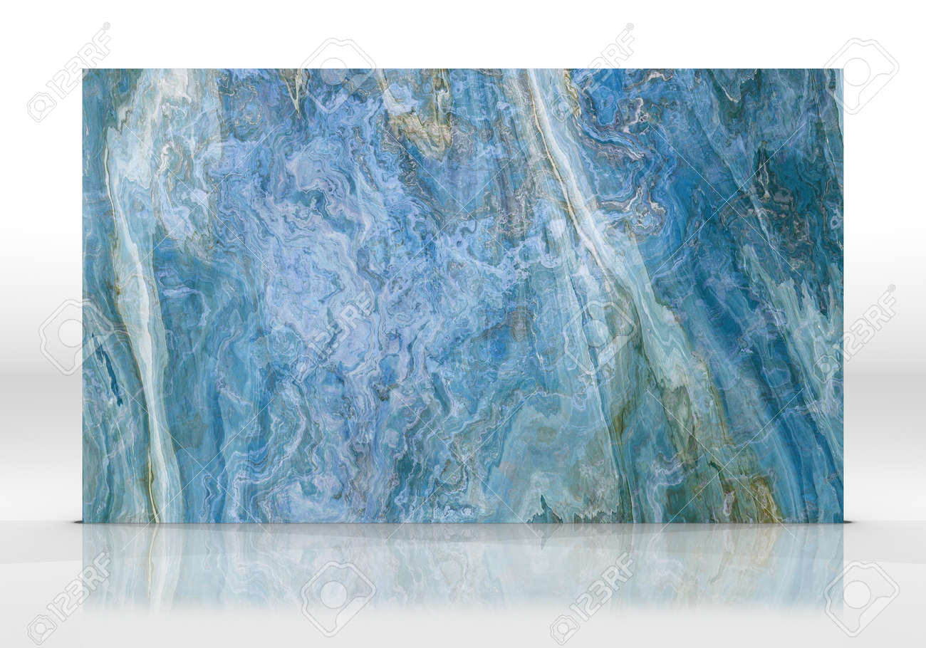 Blue Onyx marble tile standing on the white background with reflections and shadows. Texture for design. 2D illustration. Natural beauty - 162481458