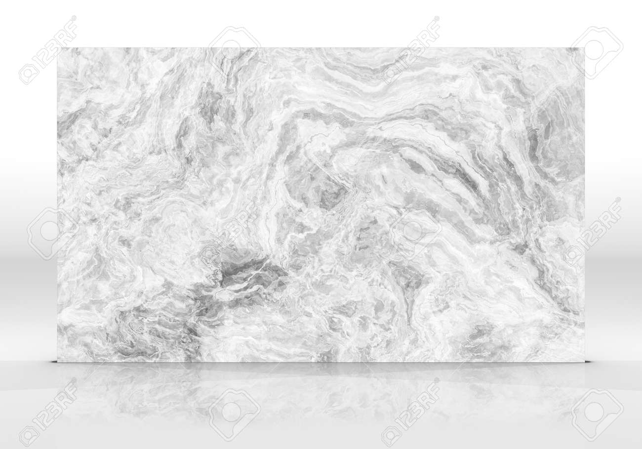 White Onyx marble tile standing on the white background with reflections and shadows. Texture for design. 2D illustration. Natural beauty - 162481504