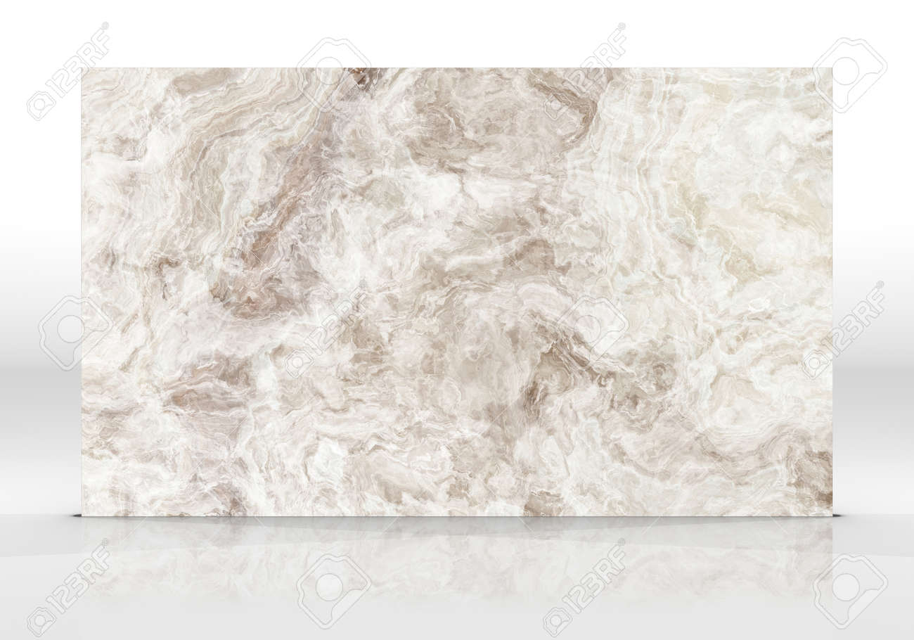 Beige Onyx marble tile standing on the white background with reflections and shadows. Texture for design. 2D illustration. Natural beauty - 162481522