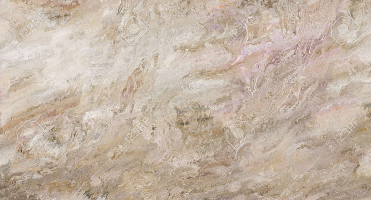 Beige marble pattern with curly veins. Abstract texture and background. Soft colored 2D illustration - 163580538