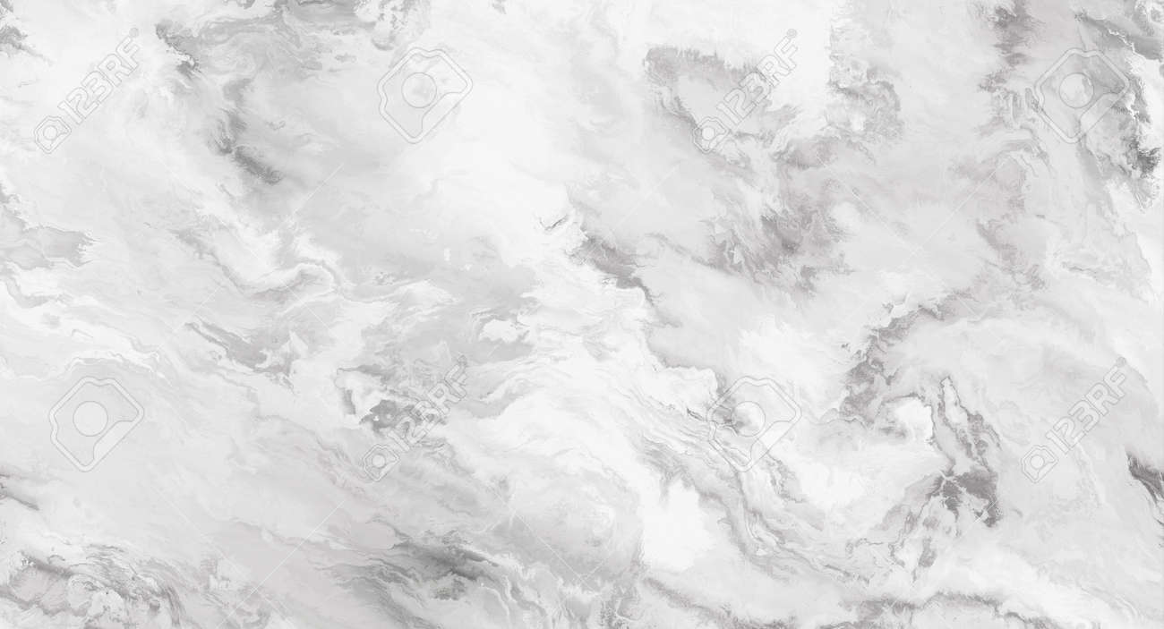 White marble pattern with curly grey and black veins. Abstract texture and background. 2D illustration - 163580539