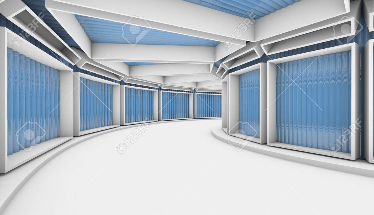 3D background. White Abstract Tunnel with blue rectangle windows. 3d Render illustration - 166409845