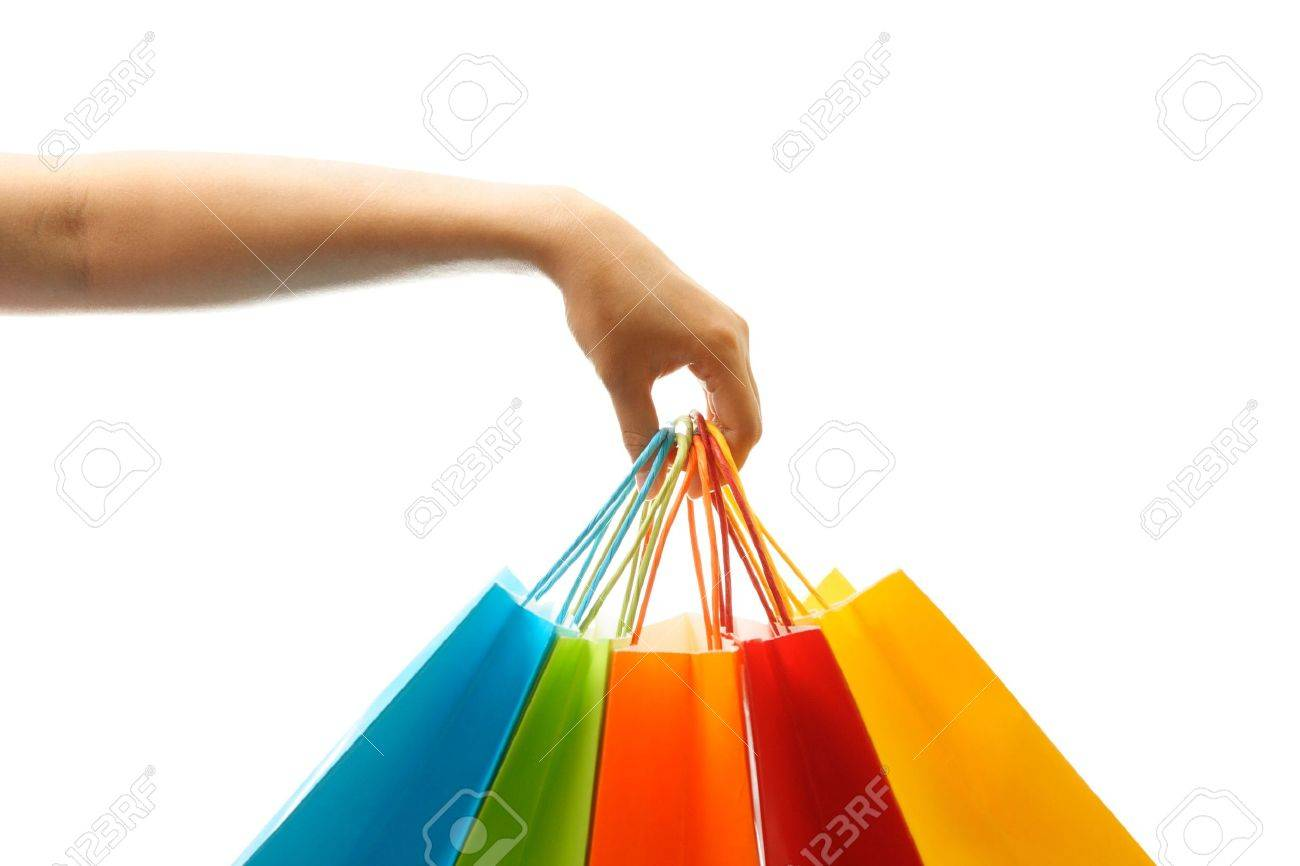 A woman hand carrying a bunch of shopping bags Stock Photo - 1297913