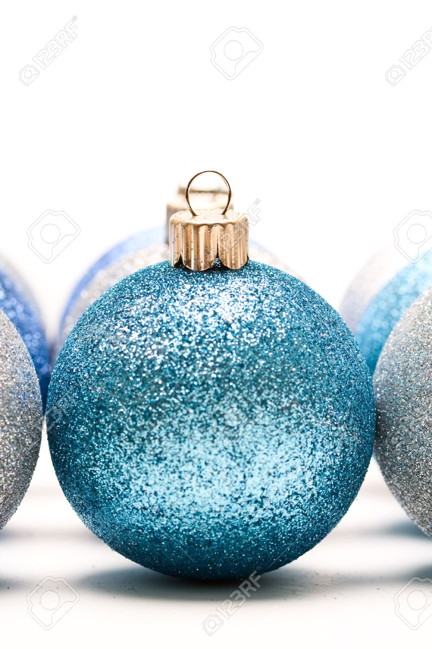 A Shot Of Blue And Silver Christmas Ornaments Stock Photo, Picture ...