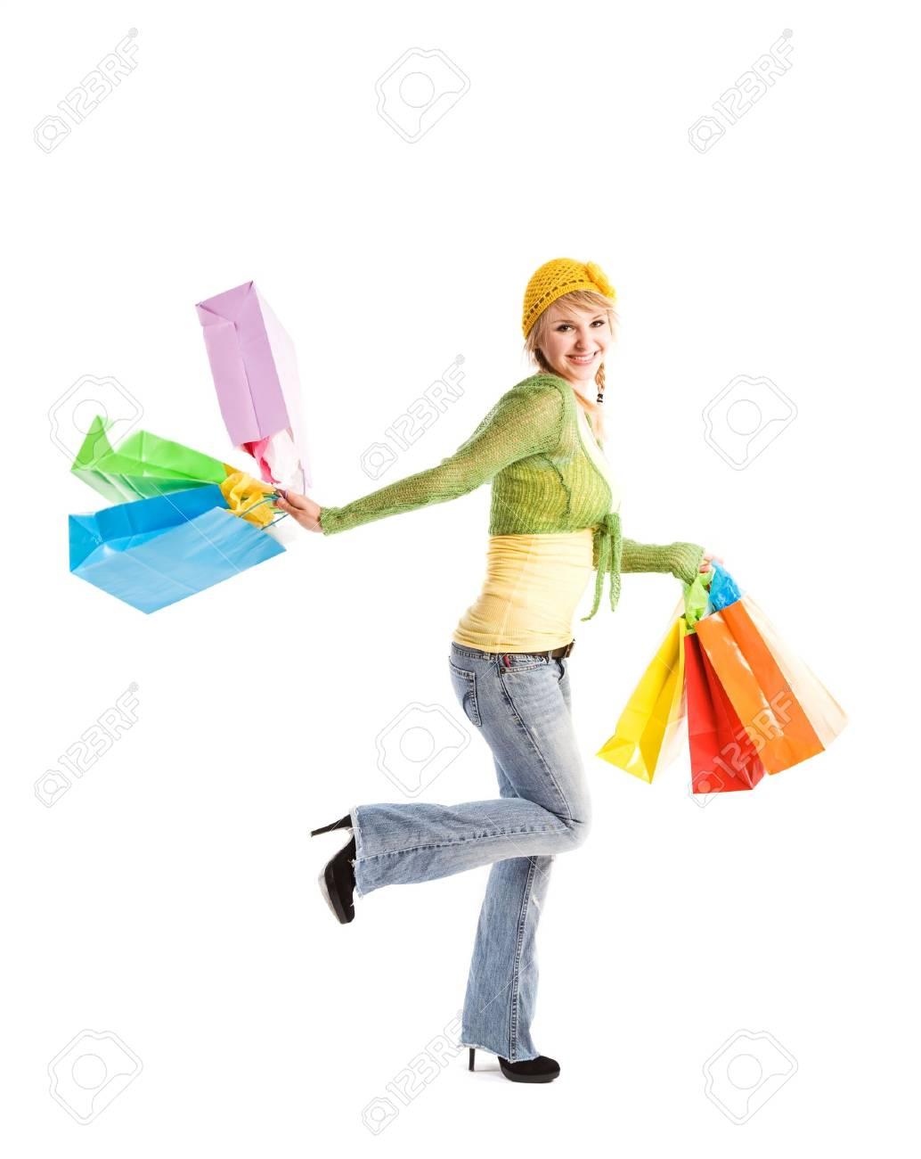 A beautiful caucasian girl carrying shopping bags Stock Photo - 3590244