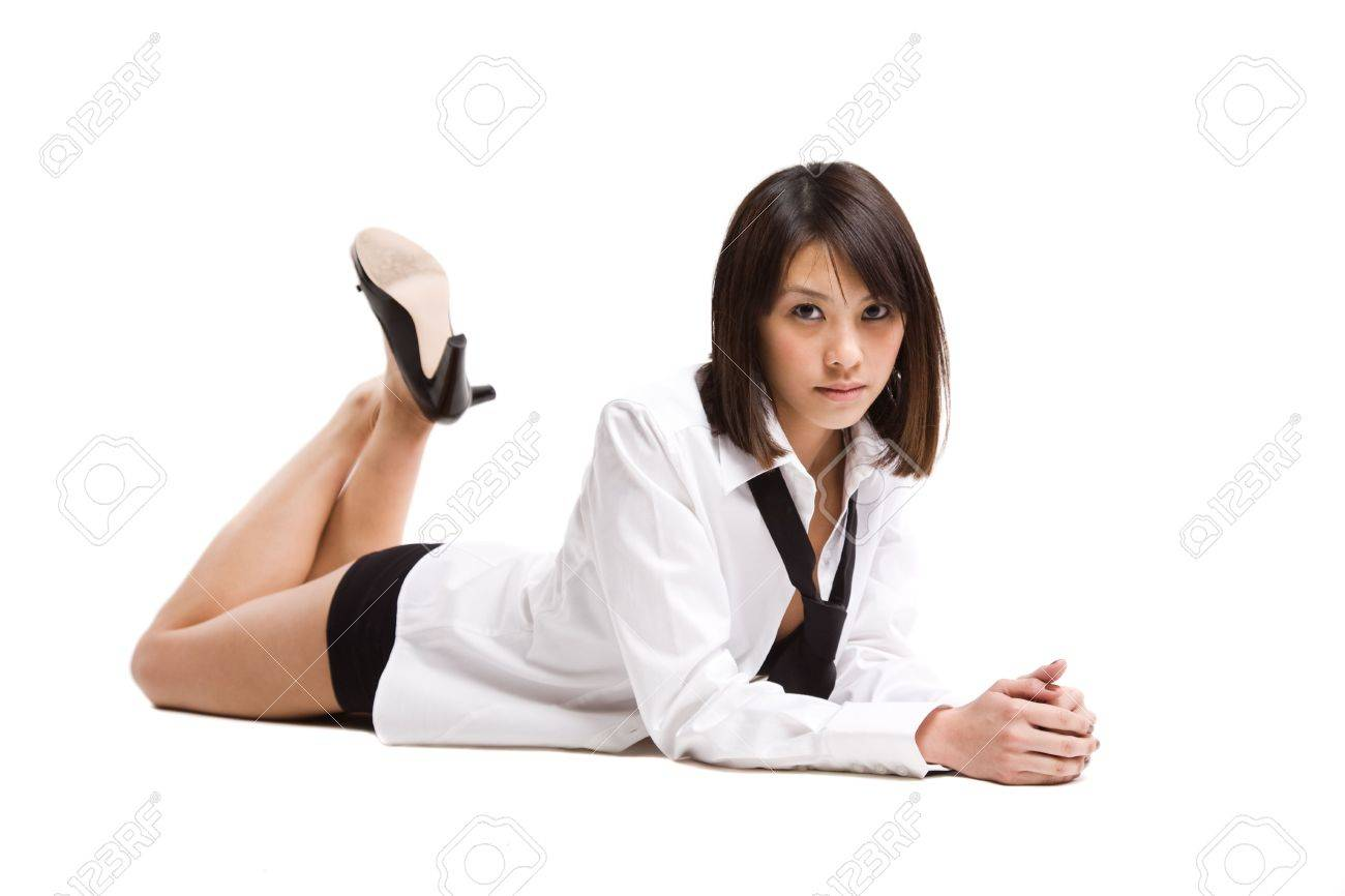 An isolated shot of a beautiful asian girl - 3854382