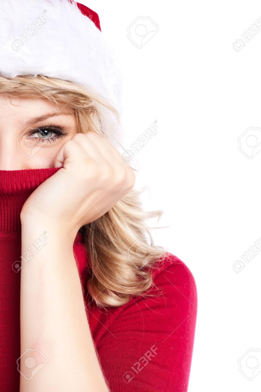 A portrait of a beautiful caucasian christmas santa girl Stock Photo - 5751948