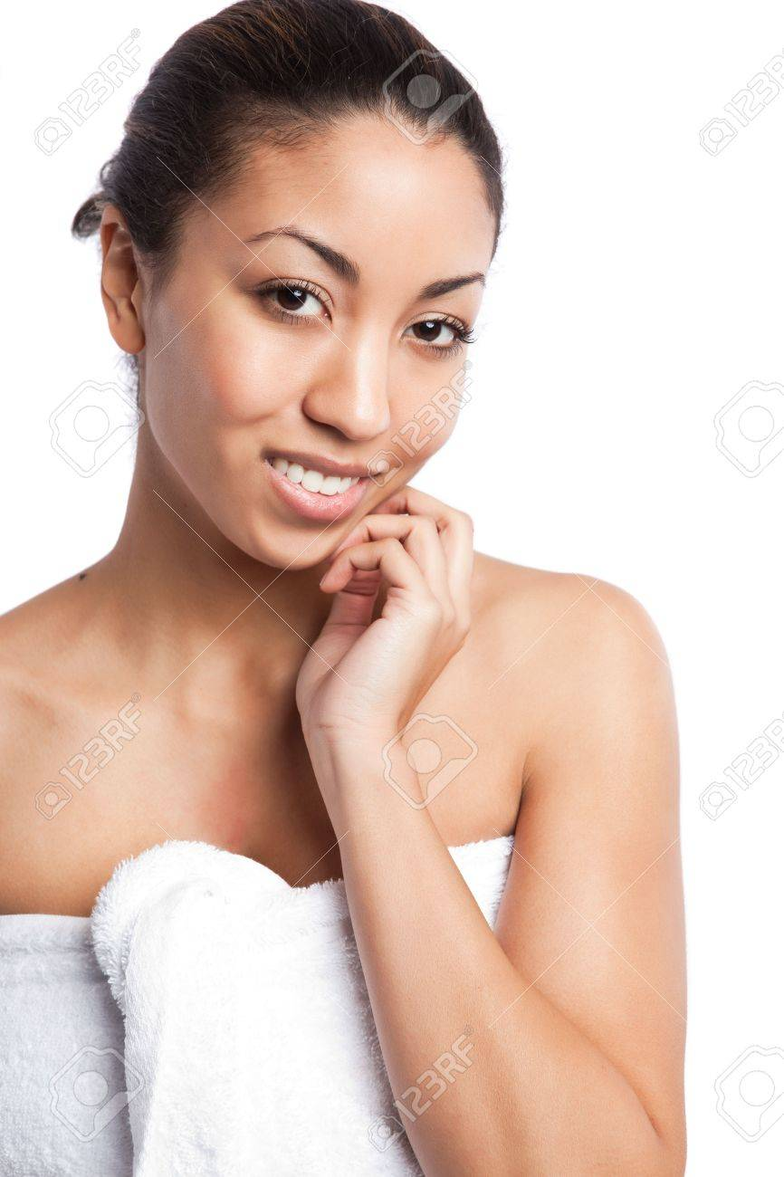 An isolated shot of a beautiful black woman in the spa Stock Photo - 6271545