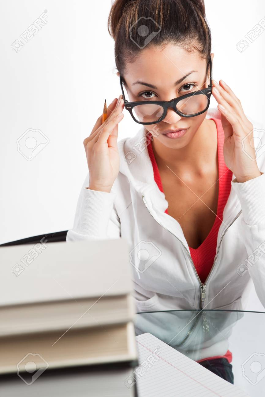 A shot of a beautiful black college student studying Stock Photo - 6470984