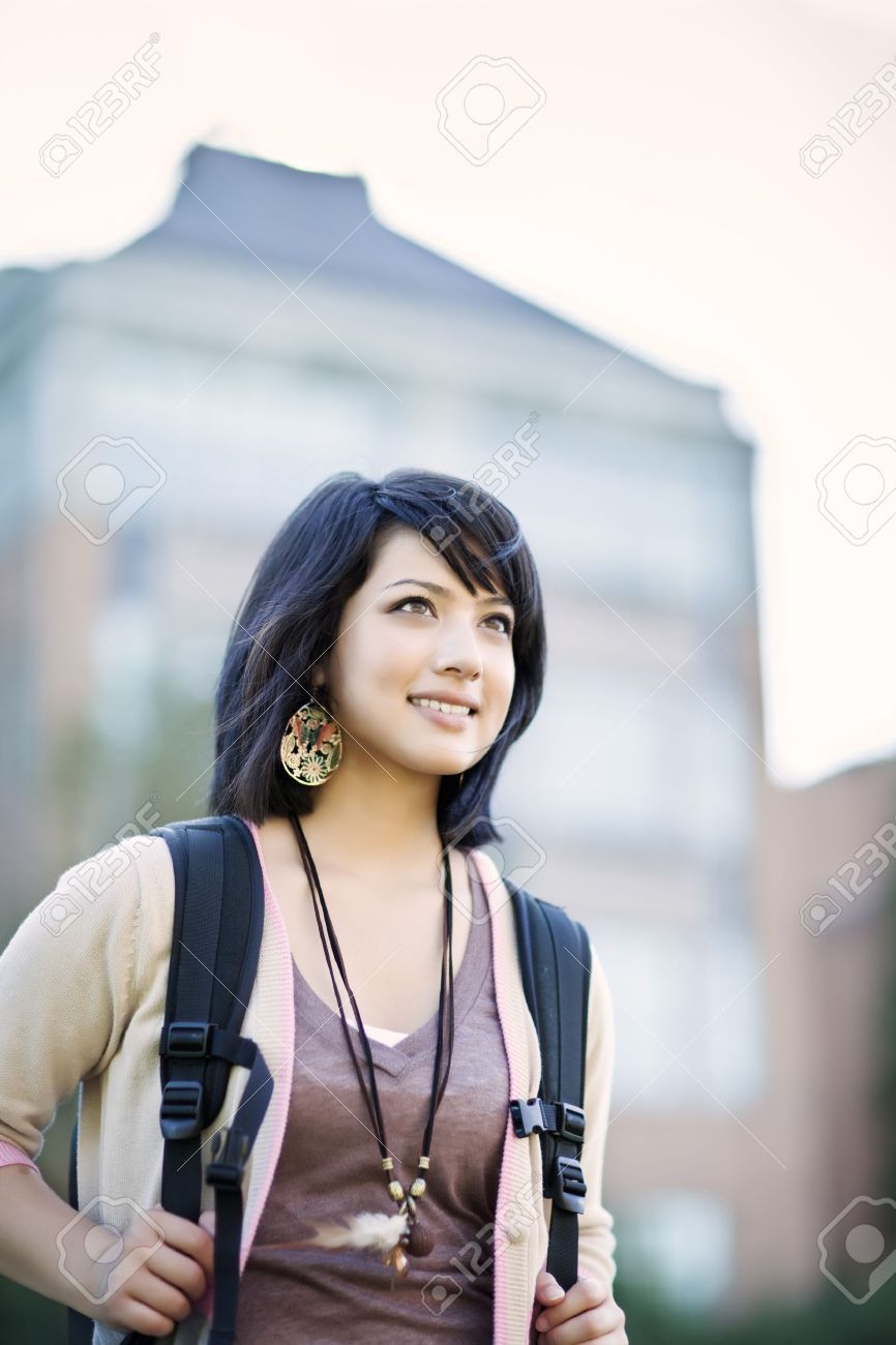 A portrait of a mixed race college student at campus Stock Photo - 7510918