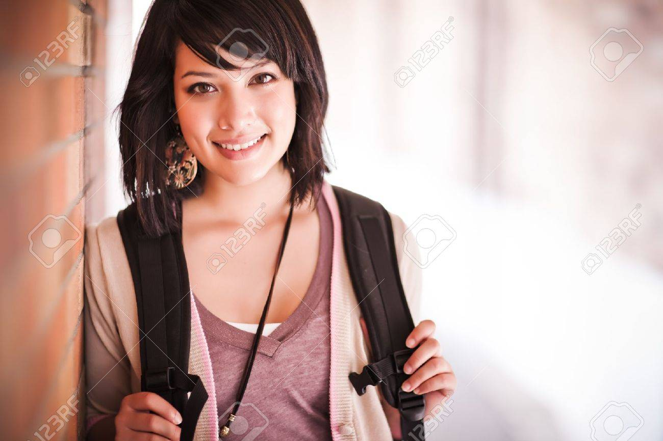 A portrait of a mixed race college student at campus Stock Photo - 7561906