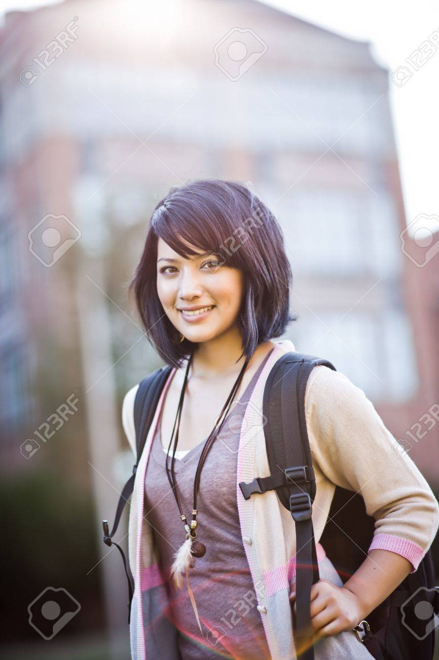 A portrait of a mixed race college student at campus Stock Photo - 7561907